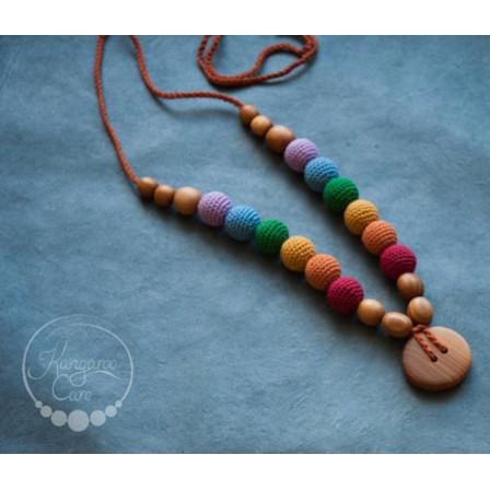 Double Earthy Rainbow Necklace, Oak Wood Kangaroocare