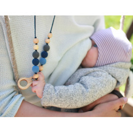 Charcoal & Denim Necklace with Ring pendant, Juniper Wood