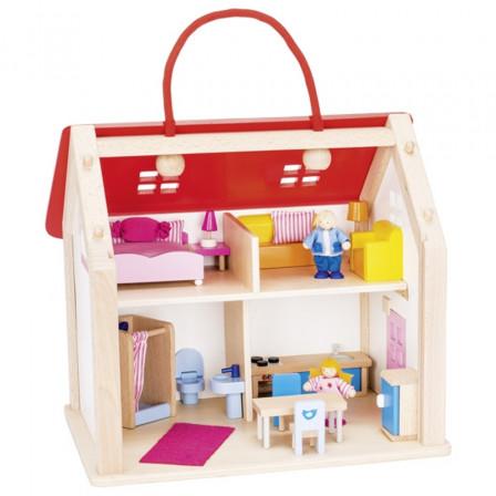Valise maison de poupées Goki avec accessoires