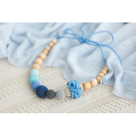 Necklace babywearing and breastfeeding bio Physio Gray, Azure and flower flat