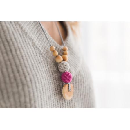 Collier portage et allaitement  gris fuchsia + Kangaroocare