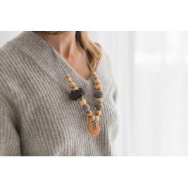 Collier portage et allaitement Kangaroocare Cool Air Anthracite Fleur Série Limitée Naturiou