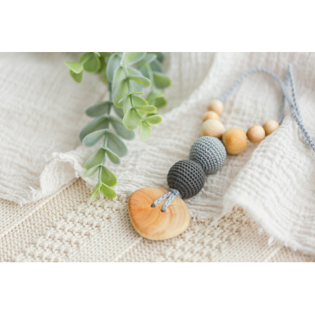 Necklace babywearing and breastfeeding Kangaroocare Cool Air Anthracite Button Limited Series Naturiou