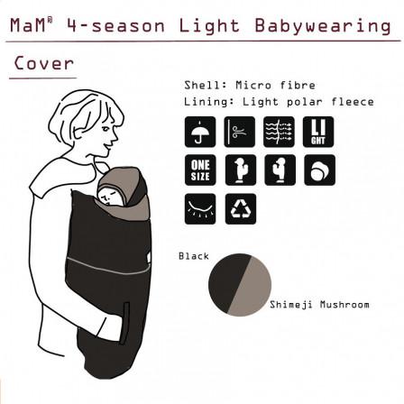 MaM 4 saisons couverture de portage Légère Black/ Shimeji Mushroom