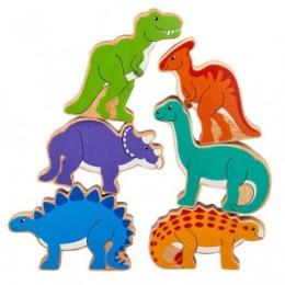 Pyramide Dinosaures en bois Lanka Kade (sac de 6)