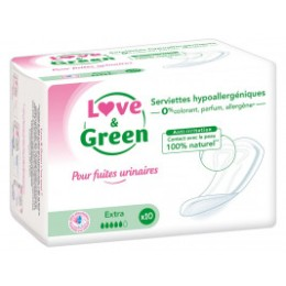 Love and Green Serviettes Incontinence Extra Hypoallergéniques x12