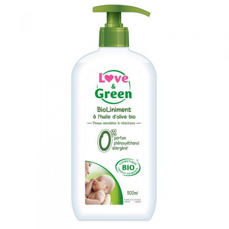 Love and Green BioLiniment Hypoallergénique à l'huile d'olive bio 500ml