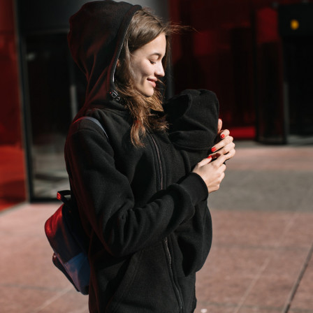 Love and Carry Veste Molletonnée de portage et de grossesse Noir