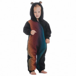 Lennylamb Bear Romper Black Big Love Rainbow Dark
