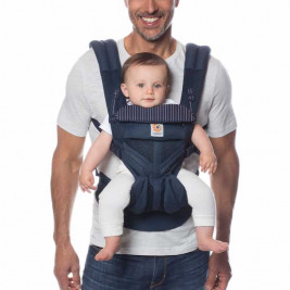Ergobaby Omni 360 Cool Air Mesh Navy Pink Stripes - baby carrier Expandable 4 Positions