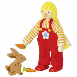 Goki Doll flexible girl of the farmer - wooden toys