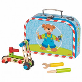 Goki Suitcase with kit construction vehicles - Toy wooden