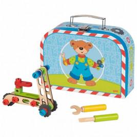 Goki Valise avec kit de construction de véhicules - Jouet en bois