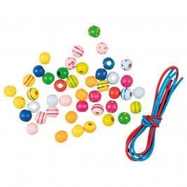 Goki Collier de perles en bois colorées