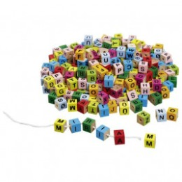 Goki Cubes of letters colorful wooden threading