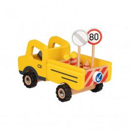 Goki Camion avec panneaux - Jouet en bois