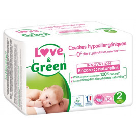 Love and green disposable diapers size 2 (3 to 6 kg)