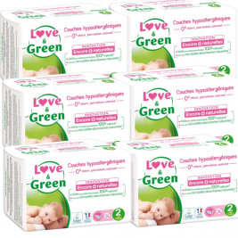 Love and Green Pack 6x36 disposable Diapers size 2 (3 to 6 kg)