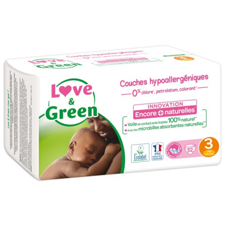 Love and Green Pack 6x52 Couches jetables taille 3 (4 à 9 kg)