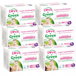 Love and Green Pack 6x42 disposable Diapers size 4+ (9 to 20 kg)