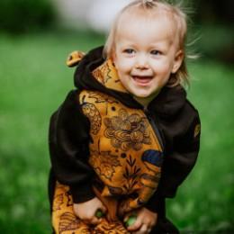 Lennylamb Bear Romper Black  - Under the Leaves Golden Autumn