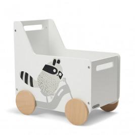 Kinderkraft Caisse à Jouets RACOON - Chariot coffre jouets à roulettes