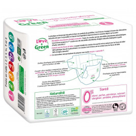 Love and green disposable diapers size 1 (2 to 5 kg)