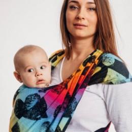 Lennylamb Lovka Rainbow Dark  baby wrap M 4.6.m