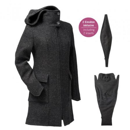 Manteau de grossesse et portage Mamalila en laine Anthracite