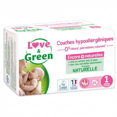 Love and Green Couches jetables taille 1 (2 à 5 kg) x 44
