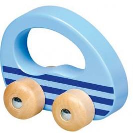 Voiture ronde bleue en bois par Goki