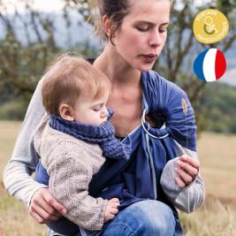 Néobulle Sling Bleu Frégate coton bio - Écharpe de Portage Sling