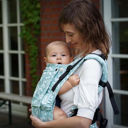 Limas Flex Flora Magic Mint porte bébé physiologique en coton bio