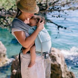 Limas baby - Turquoise Gris porte-bébé en coton bio