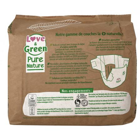 Love and Green Couches certifiées Ecolabel et hypoallergéniques, Pure Nature, Taille 5 x 33