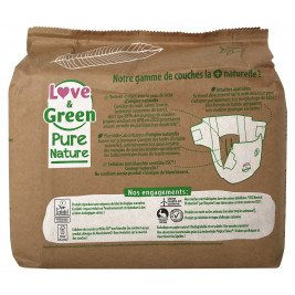 Love and Green, Pure Nature, Taille 3, couches hypoallergéniques x 42