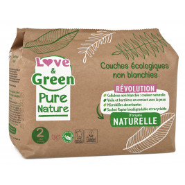Love and Green, Pure Nature, Taille 2, couches hypoallergéniques x 35
