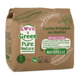 Love and Green, Pure Nature, Size 1, hypoallergenic diapers x 32