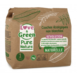 Love and Green, Pure Nature, Taille 1, couches hypoallergéniques x 32