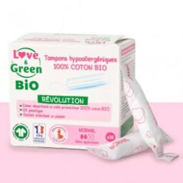 Love & Green BIO, Protections Féminines Hypoallergéniques, Tampons avec applicateur «Normal» X 16