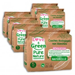 Love and Green Pure Nature Pack 6x33 Couches jetables taille 5 (11 à 25 kg)