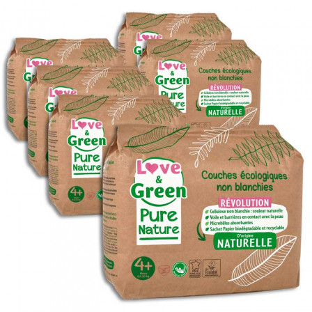 Love and Green Pure Nature Pack 6x35 Couches jetables taille 4+ (9 à 20 kg)