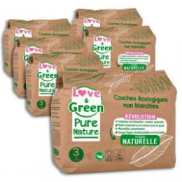 Love and Green Pack 6x23 disposable Diapers size 1 (2 to 5 kg)