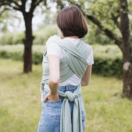 Love And Carry Pistachio - Écharpe de portage extensible Coton BIO