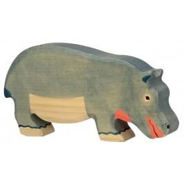 Hippopotame mangeant en bois Holztiger