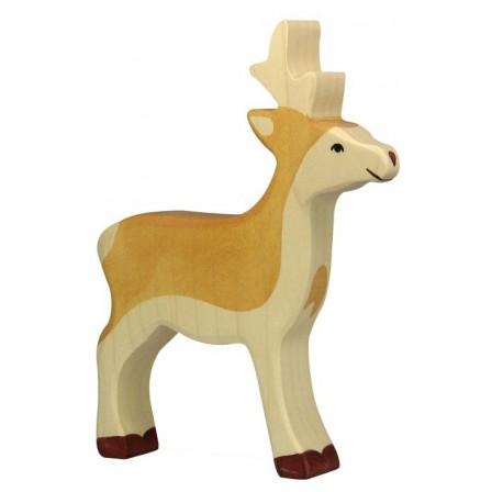 Jeune cerf en bois Holztiger