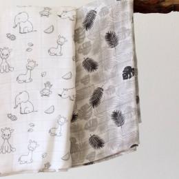 Naturiou Couverture Bébé en Mousseline Imprimée 120 x 120cm