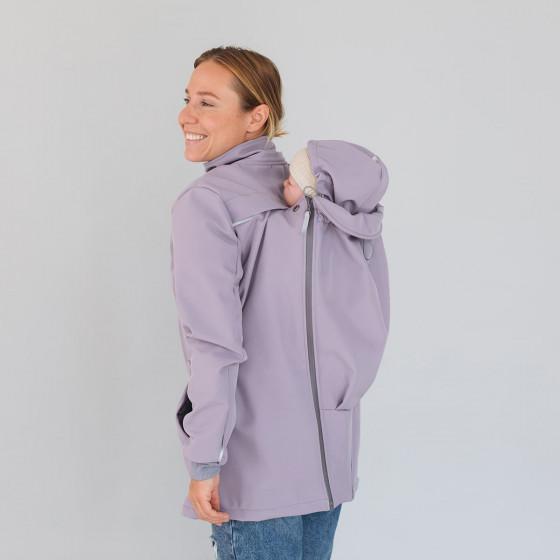 Love and Carry Veste 4 en 1 de Portage et de Grossesse Softshell Lavender portage sur le dos