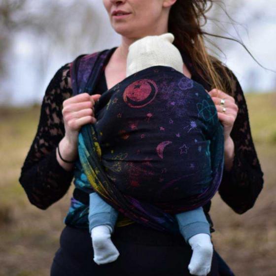 Yaro Slings Cosmos Nebula Black Rainbow Linen Hemp - Ring Sling