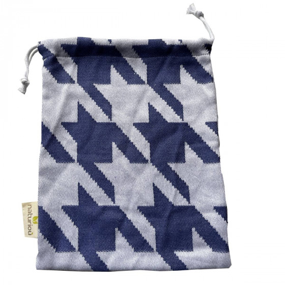 Naturioù Arcade Bleu - Sac à cordon en coton tissu jacquard